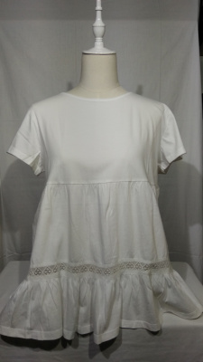 camiseta de algodón con volante